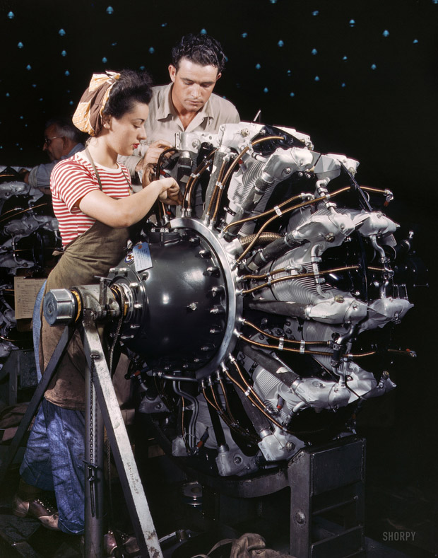 October 1942. Labour trained to become motor mechanics. Douglas Aircraft Company, Long Beach, California.