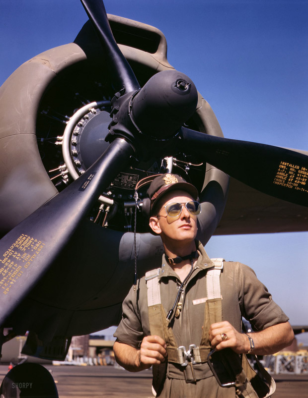 October 1942. 'Lieutenant' Mike 'Hunter, army test pilot  assigned to the Douglas Aircraft Company, Long Beach, California.