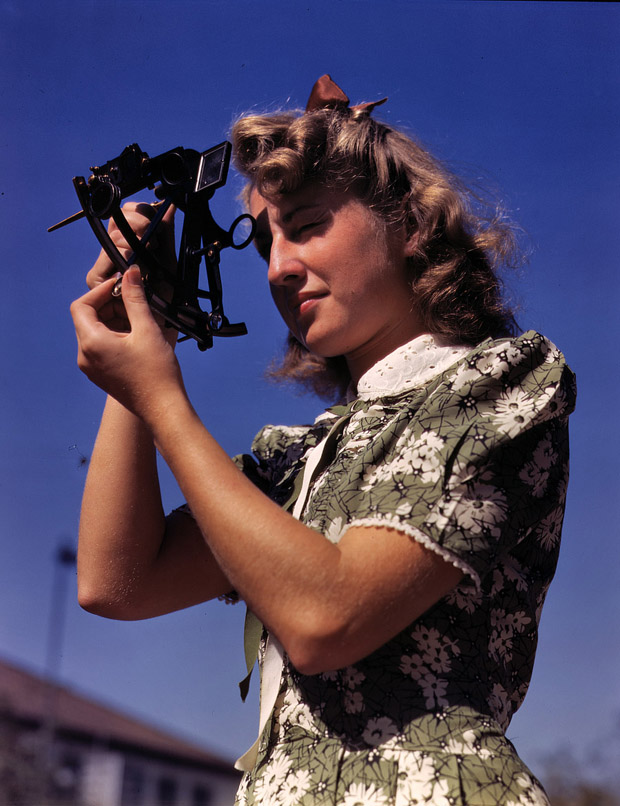 September 1942. Senta Osoling learns to measure latitude using a sextant.