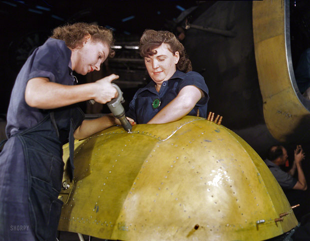 "February 1943. Working on the bomb"" revenge "" in factories of Vultee Aircraft at Nashville."