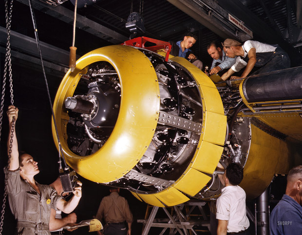 July 1942. Production of B-25 bombers. Mounting a Wright Whirlwind engine of 1700 horsepower. Kansas City.