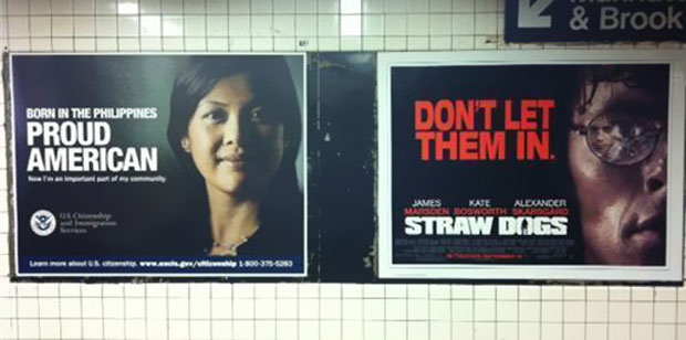 Funny Ad Placements-- Proud immigrant and film poster
