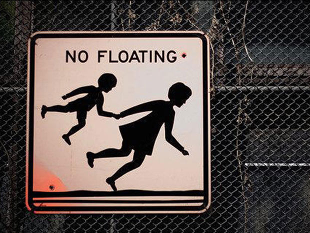 Funny No Floating Sign Board