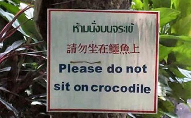 Funny Sign-Please Do Not Sit On Crocodile
