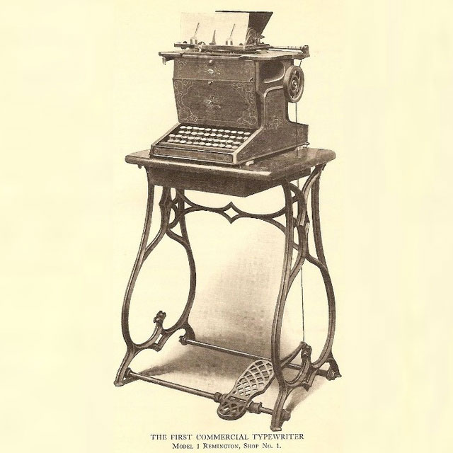 1867: The Sholes and Glidden (also known as the Remington No. 1)-typewriter evolution
