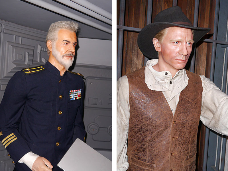 Sean Connery and Daniel Craig at Hollywood Wax Meuseum