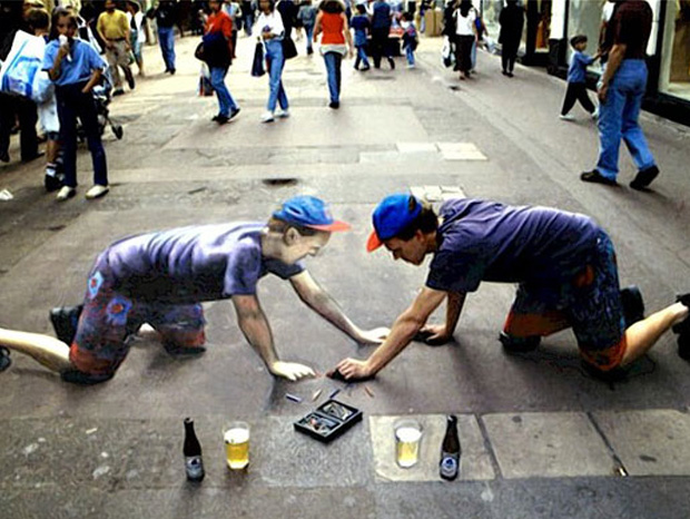 Julian Beever--3D paintings