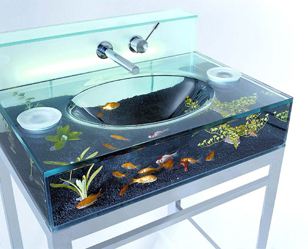 Washroom vanity aquarium
