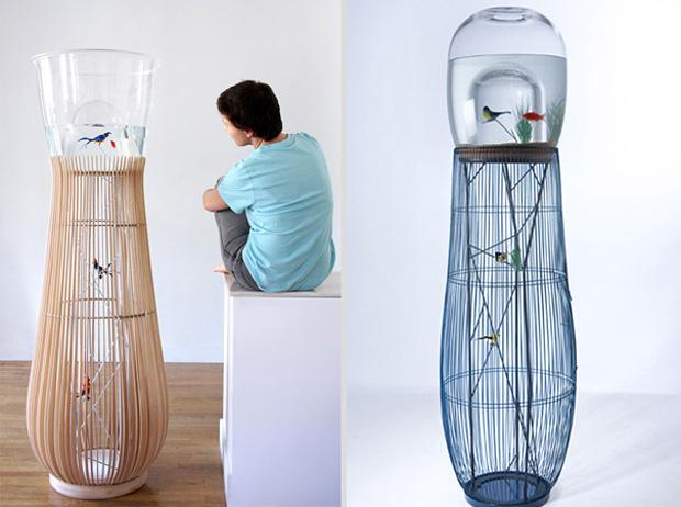 Bird cage shape aquqrium