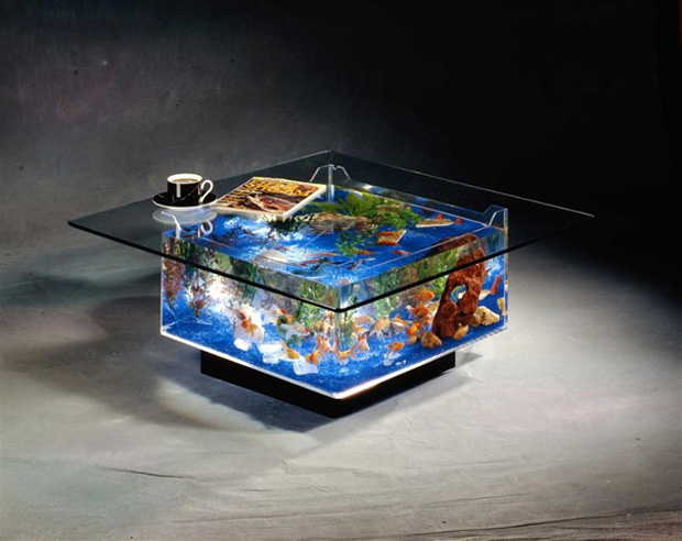Aquarium within glass table