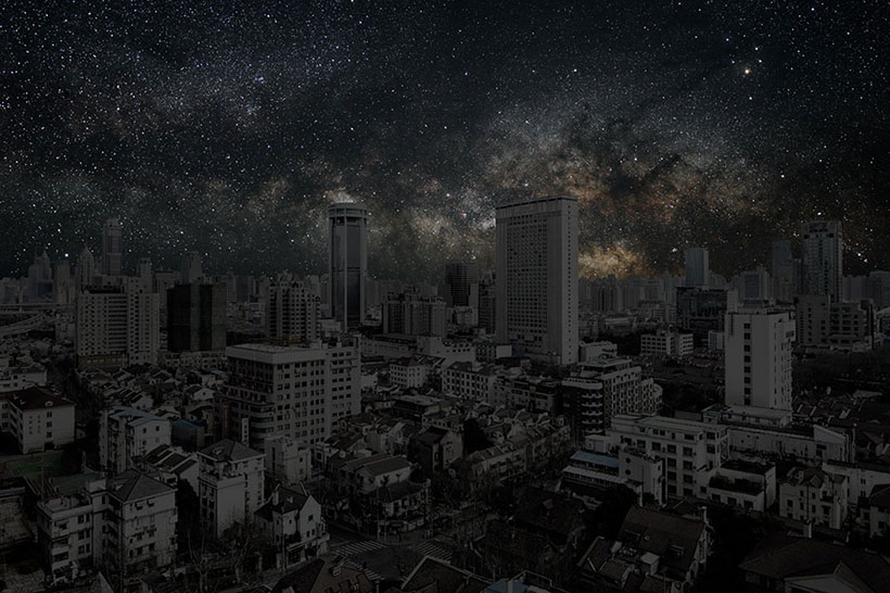 Shangai sky view in the dark