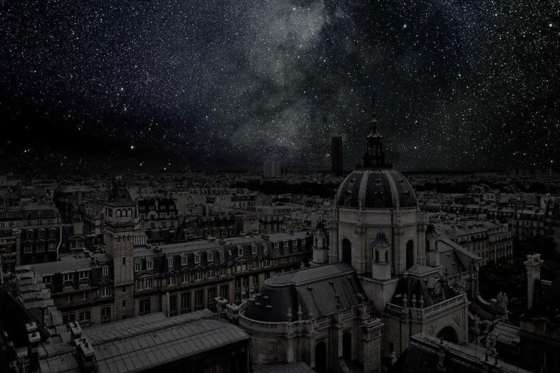 Paris sky view in the dark