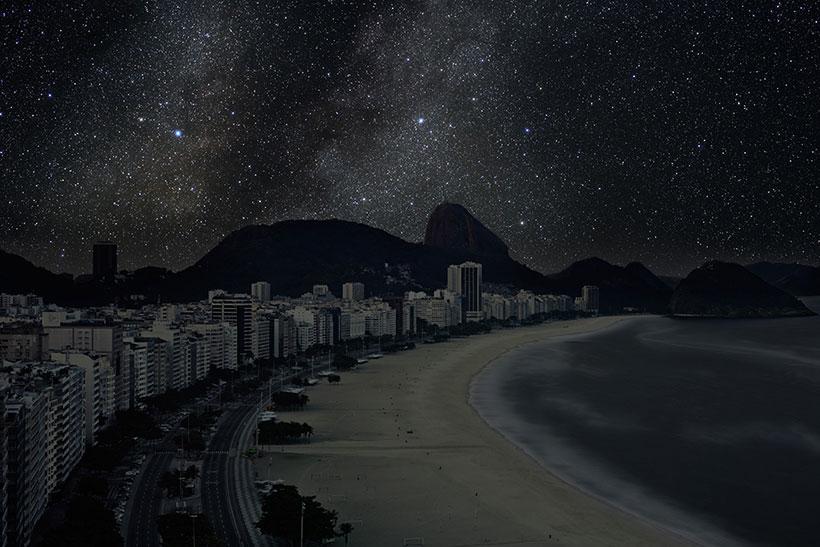 Rio de Janeiro sky view in the dark