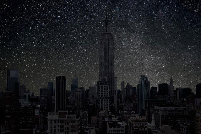 New York sky view in the dark