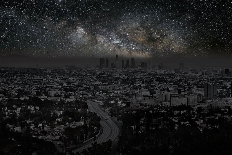 Los Angeles sky view in the dark