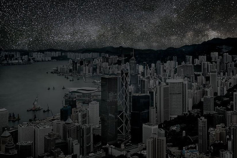 Hong Kong sky view in the dark