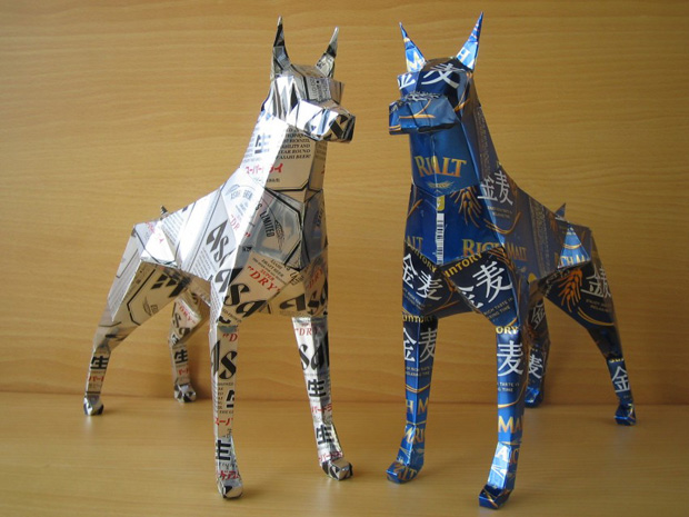 Amazing Can Art--doberman made from cans