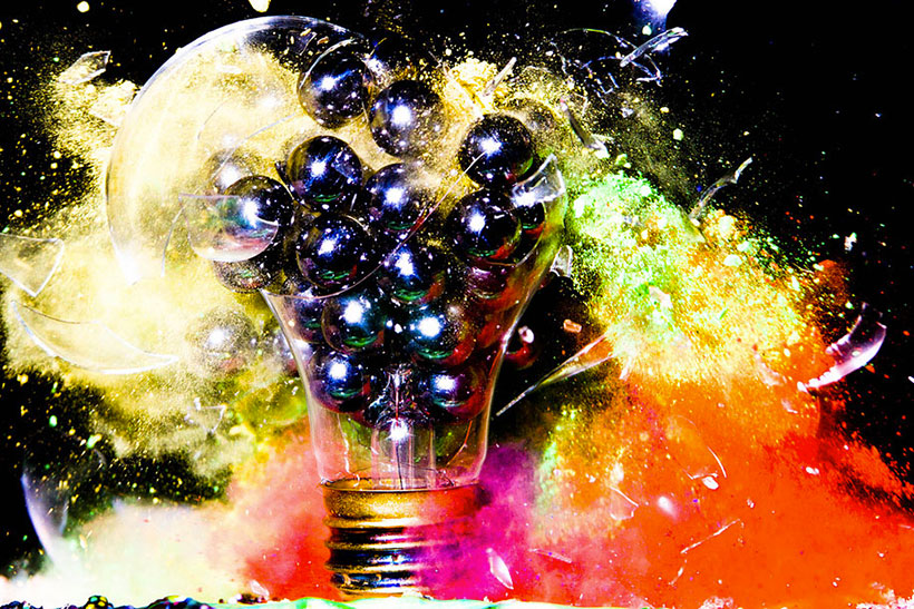 Explosion of balls within light bulb
