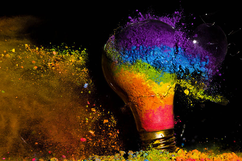 Explosion of colours within light bulb