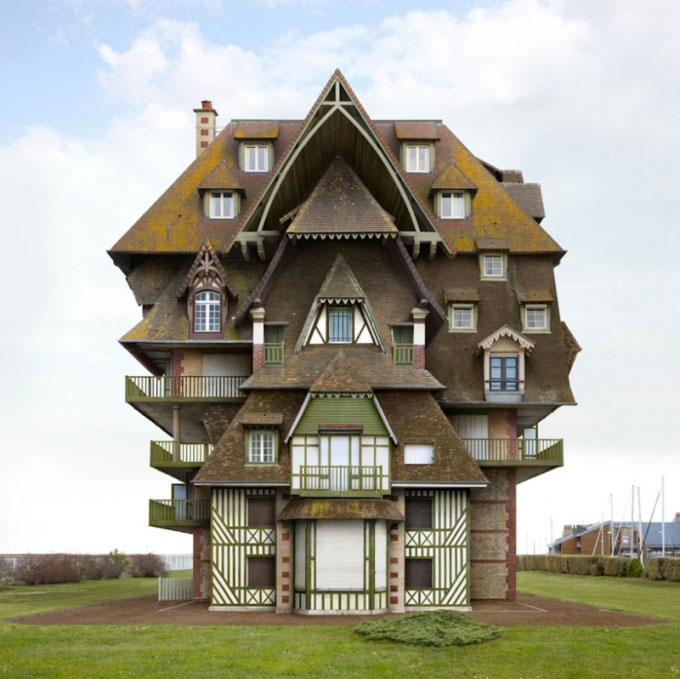 Surreal and weird houses designs using photo montage for House structure design