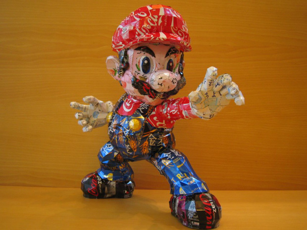 Amazing Can Art--mario made from cans
