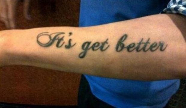 A tattoo with wrong speling