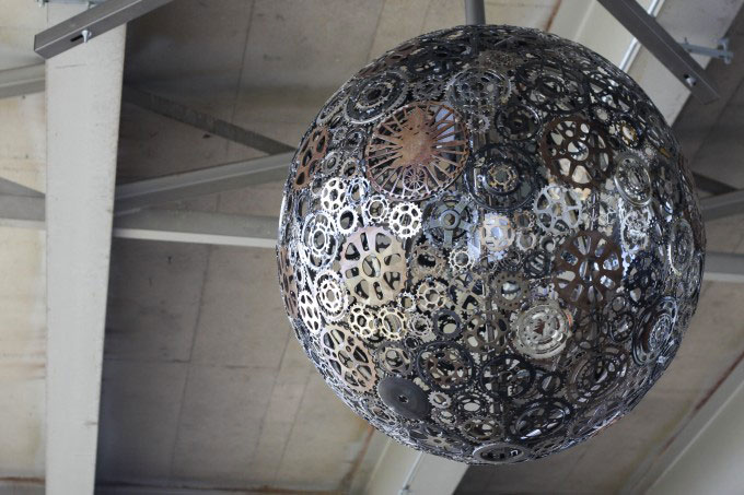 Artistic chandeliers Fron old bike parts, Saint Antonio
