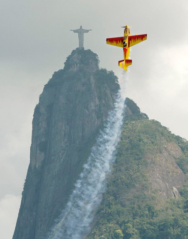 Plane going up in the sky in  Rio de Janeiro, Brazil.