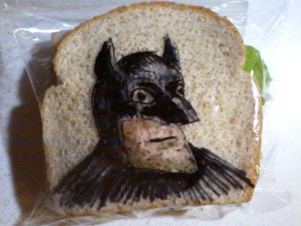 a batman cartoon design on a sandwich