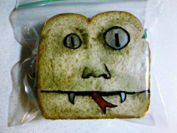 a dracula face picture on sandwich