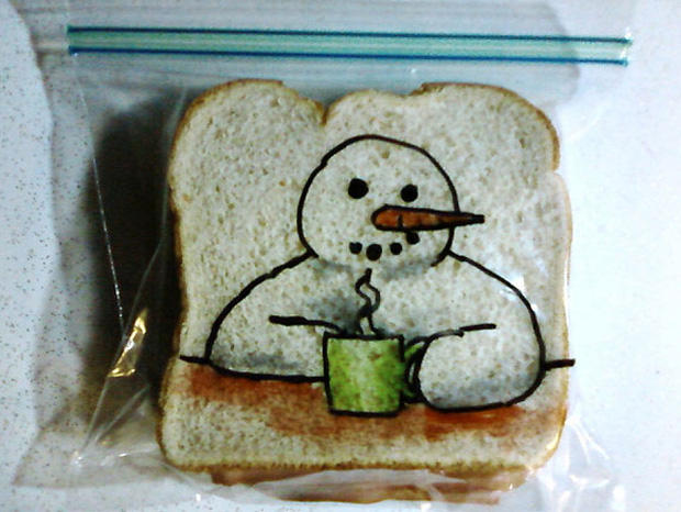 a snow man cartoon on a sandwich