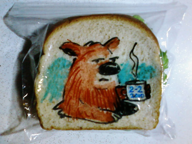 a bear cartoon on a sandwich