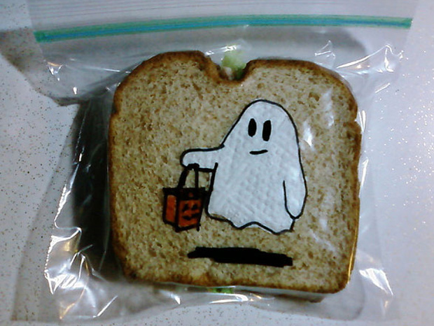 a ghost cartoon on a sandwich