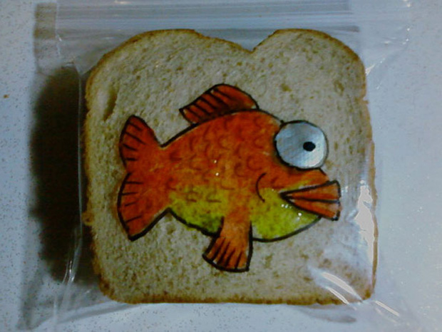 a fish cartoon on a sandwich