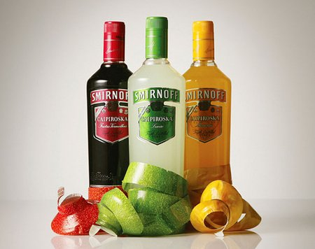 Bottles of Smirnoff Fruit