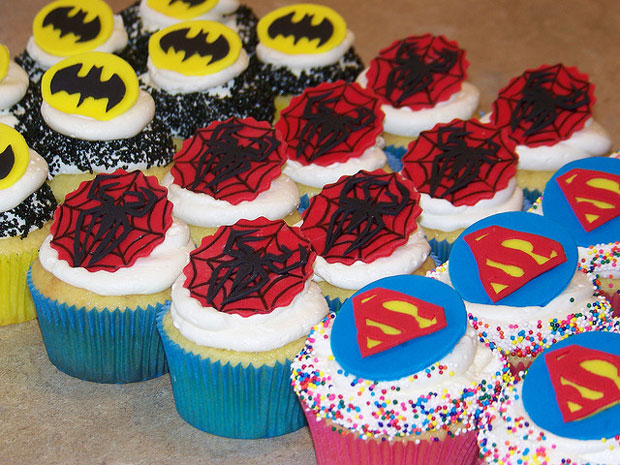 superheros logo design pastries