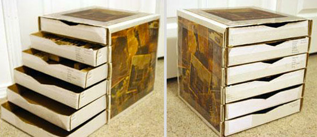 Cool ideas to reuse Pizza box: A storage shelf