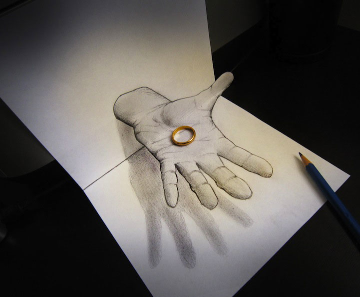 Alessandro Diddi  anamorphic drawings- 3D objects seem to leave the drawings