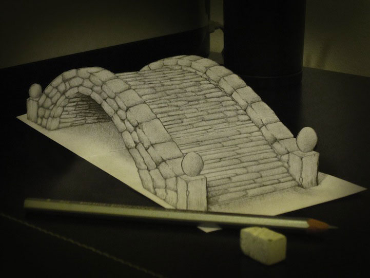 Alessandro Diddi  anamorphic drawings- Life Like 3D objects seem to leave the drawings