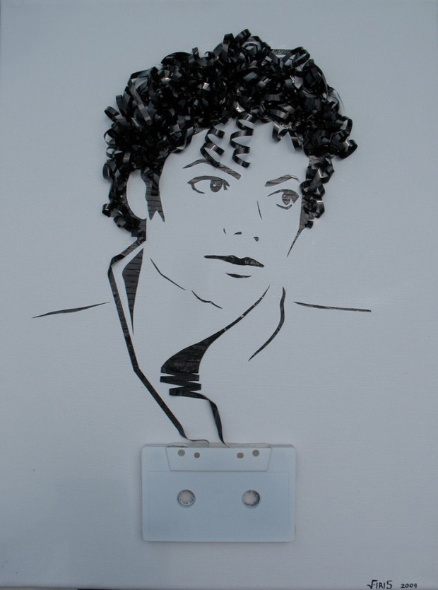 Erika Iris Simmons: Michael Jackson Faces Made Using Cassette Tapes