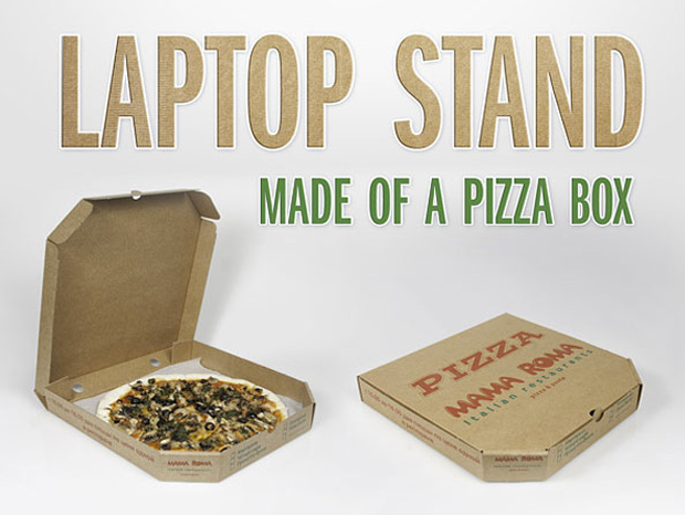 Reuse Pizza Boxes:  Laptop Stand