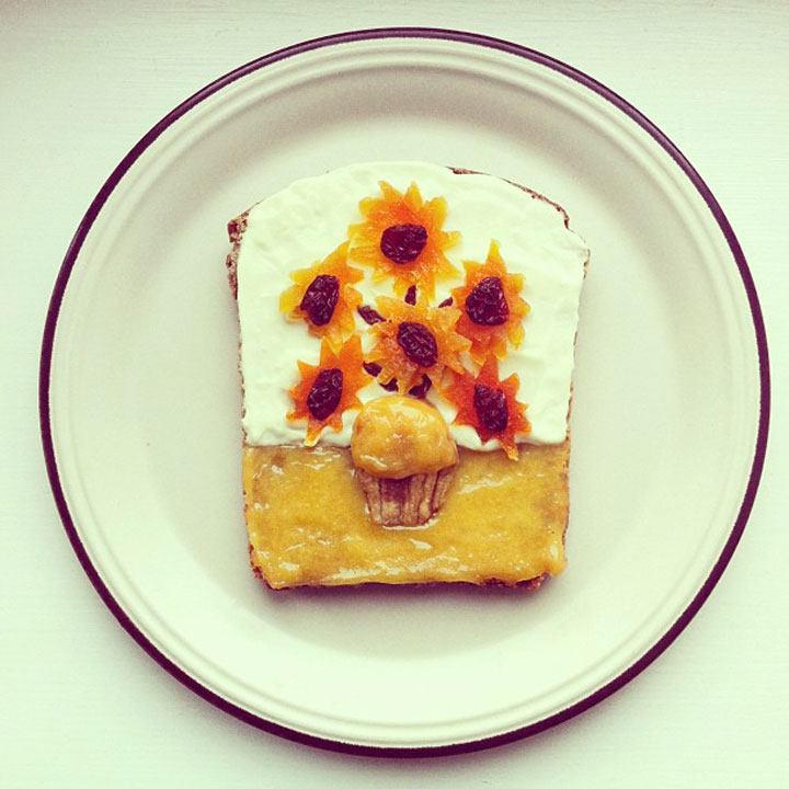 Vincent Van Gogh - Sunflowers Made by Ida Frosk On Toast