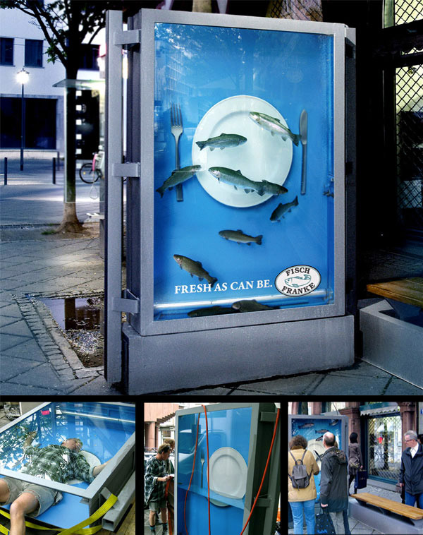 Fisch Franke - A live show with water and real fish-Fisch Franke A Live Show With Water And Real Fish-Amazing Ads That Merge With Their Surroundings