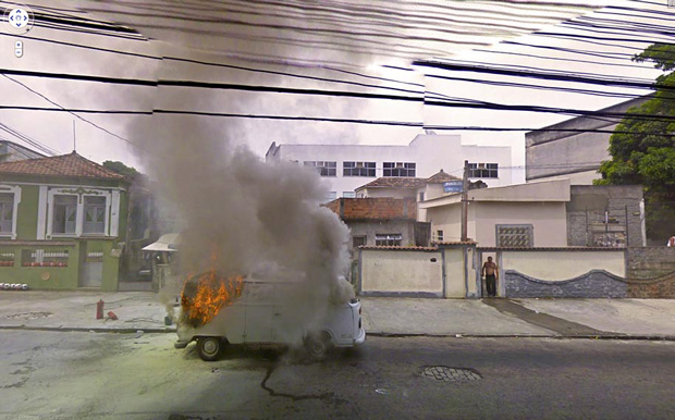 Van on fire: Amazing And Strange Photo Shots From Google Street View