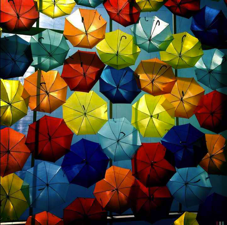 Levitation (Hanging) Of Hundreds Of Colorful Umbrellas In Agueda, Portugal