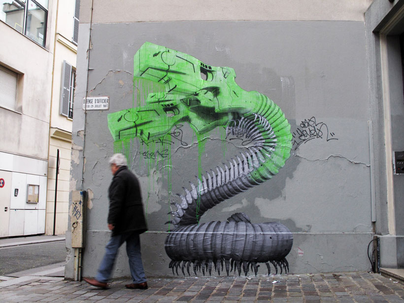 A Parisian Artist Combining Nature and Technology For His Street Artwork