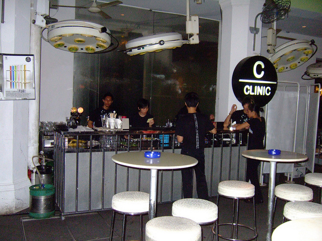 Clinic Bar, a restaurant-hospital designed by Dutch architect Clarke Quay, Singapore