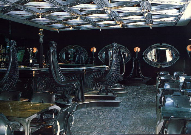 Two bars that reflect the themes of Alien, creation of Hans Ruedi Giger, Switzerland