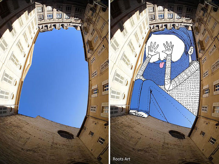 Parisian Artist Thomas Lamadieu aka RootsArt Uses Sky as canvass for his artworks