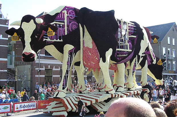 Sculpture made from Cows: Flower Parade in Zundert, Netherlands